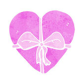 Cartoon heart shaped present — Vector de stock