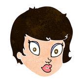 şaşırmış kadın yüzü cartoon — Stok Vektör
