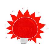 Cartoon flashing red light bulb — Stock Vector