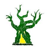 Cartoon spooky old tree — Stock Vector