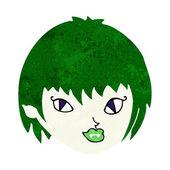 Cartoon vampyr flicka ansikte — Stockvektor