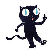 Cartoon black  cat with idea — Stock Vector