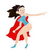 Femme de super-héros de bande dessinée de pointage — Vecteur