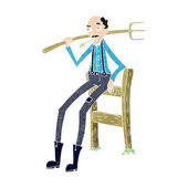 Cartoon old farmer leaning on fence — Vetorial Stock