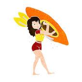 Cartoon woman carrying canoe — Vector de stock