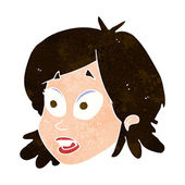 Cartoon female face with surprised expression — Stock Vector