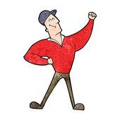 Cartoon man striking heroic pose — Stock Vector