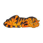 Cartone animato tigre di riposo — Vettoriale Stock