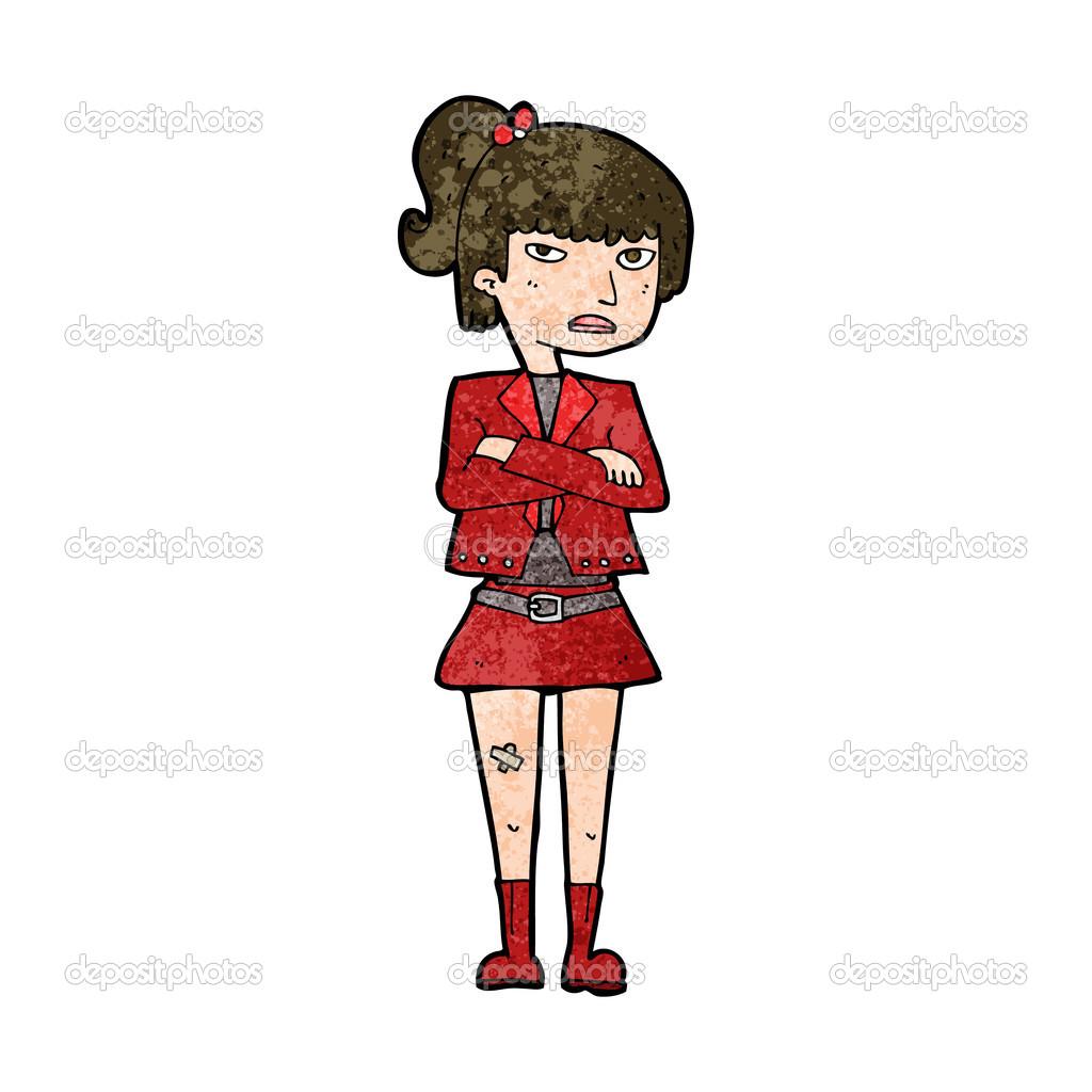 卡通酷酷的女孩— vector
