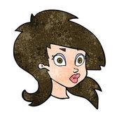 Cartoon pretty surprised woman — Stock Vector