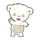 Cartone animato sventolando orso polare — Vettoriale Stock