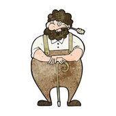Cartoon farmer leaning on walking stick — Stock Vector