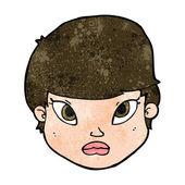 Cartoon serious face — Stock Vector