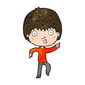 Cartoon impressed boy pointing — Stock Vector