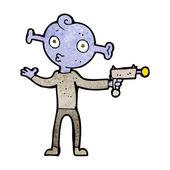 卡通外星人用射线枪 — 图库矢量图片