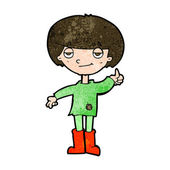 Cartoon boy in poor clothing giving thumbs up symbol — Stock Vector