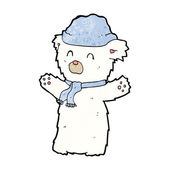 Cartooon cute polar bear in hat and scarf — Stock Vector