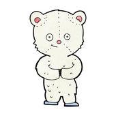 Filhote de urso polar de pelúcia dos desenhos animados — Vetor de Stock