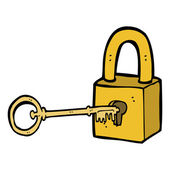 Cartoon padlock and key — Stock Vector