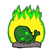 Cartoon burning old bones — Stockvektor