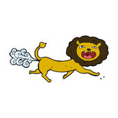 Cartoon farting lion — Stockvektor