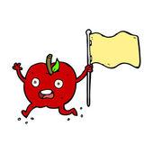 Cartoon funny apple with flag — Stockvektor