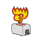 Cartoon burning toaster — Stock Vector