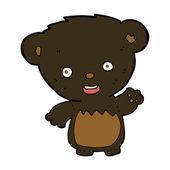 Cartoon black bearcub waving — Stock Vector