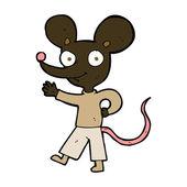 Cartoon waving mouse — Stockvektor