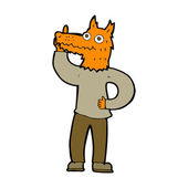Cartoon fox man with idea — Stock Vector