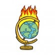 Cartoon burning globe — Stock Vector #46956053