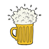 Cartoon frothy beer — Stock Vector