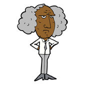 Cartoon big hair lecturer man — Stock Vector