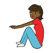 座っている漫画かわいい女の子 — ストックベクタ