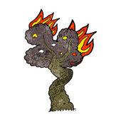 Cartoon burning old tree — Stockvektor