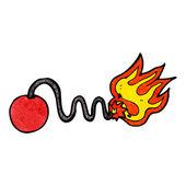 Cartoon bomb with burning fuse — Stock Vector