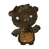 мультфильм развевающийся черный медвежонок — Cтоковый вектор