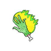 Cartoon gross flaming zombie hand — Stock Vector