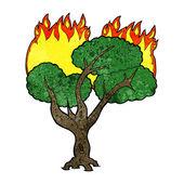árvore ardente dos desenhos animados — Vetorial Stock