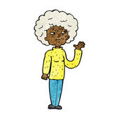 Cartoon annoyed old woman waving — Stock Vector