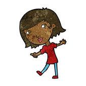Cartoon happy girl gesturing to follow — Stock Vector
