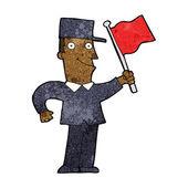 Kreslený muž mává vlajkou — Stock vektor