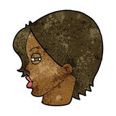 Cartoon female face with narrowed eyes — Stockvektor