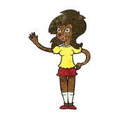 Cartoon pretty woman waving for attention — Stockvektor