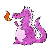 Karikatür yangın nefes dragon — Stok Vektör