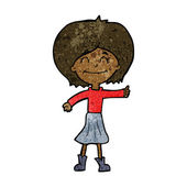 Cartoon happy girl giving thumbs up symbol — Stockvektor