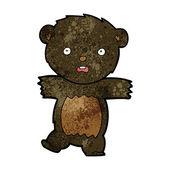 Cartoon shocked black bear cub — Cтоковый вектор