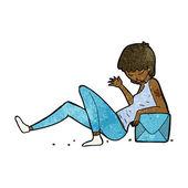 Cartoon woman leaning on package box — Stockvektor