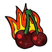 Cartoon flaming cherries — 图库矢量图片