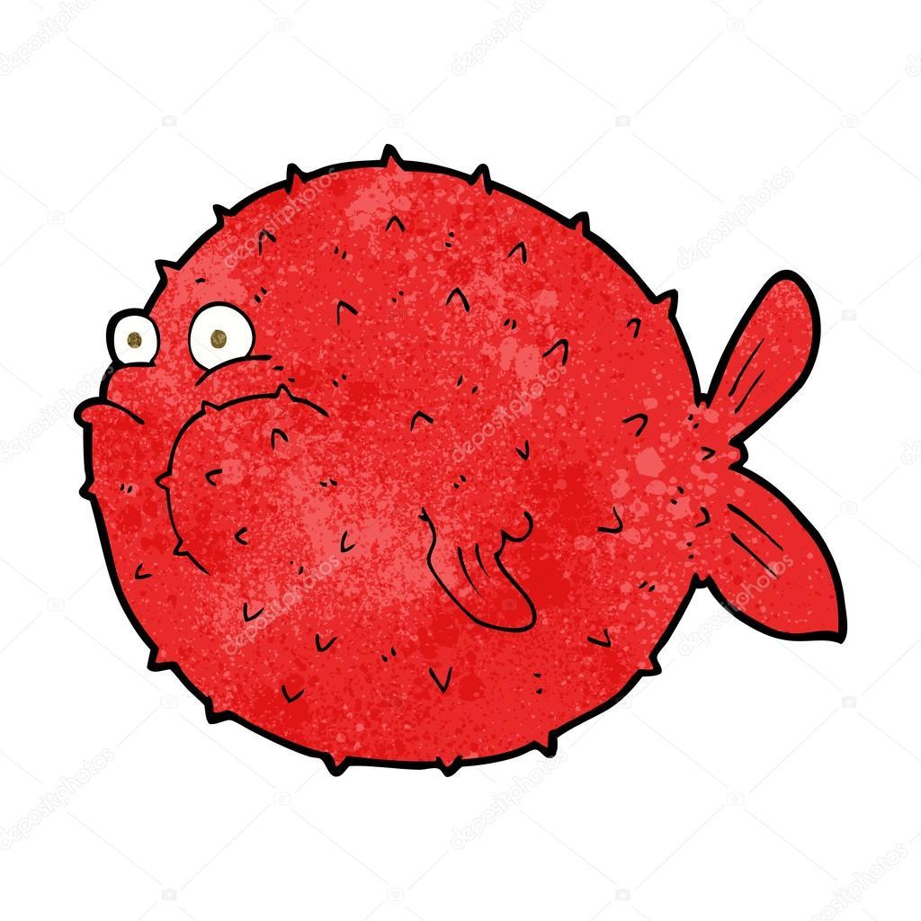 Angry cartoon puffer fish